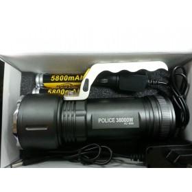 TORCIA 38000 LUMEN TATTICA/MILITARE LED T6 3800WATT  MANICO 2 BATT