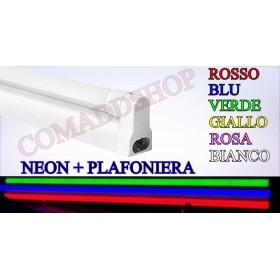 PLAFONIERA completa DI NEON LED colorato TUBO T8 60-120-150 CM 220V SOFFITTO